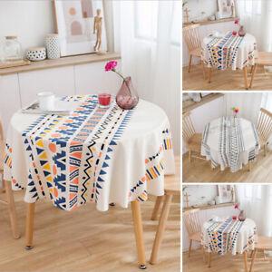 Modern Round Tablecloth Cotton Linen Desk Tea Dinning Room Kitchen Home Decor
