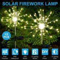 2x Solar Lawn Light 150LED Firework Starburst Fairy Light Garden Path Lamp Decor