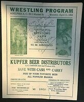 GORGEOUS GEORGE VERY RARE ORIG 1955 WRESTLING PROGRAM SIGNED BY ARGENTINE ROCCA!