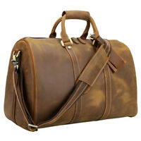 6a408d8eb Vintage Large Men's Real Leather Duffle Gym Bag Suitcase Travel Luggage Bag  Tote