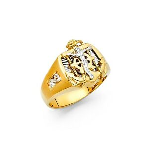 Mariner Crucifix Ring Solid 14k White Yellow Gold Anchor Cross Band CZ Religious