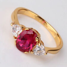 Unbranded Ruby Oval Yellow Gold Filled Costume Rings