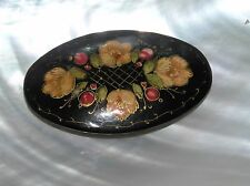 Estate Signed Russian Handpainted Yellow Floral Black Lacquered Oval Wood Pin