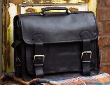 Medium Black Vintage Style Handmade Leather Satchel Briefcase Laptop Bag RRP £85