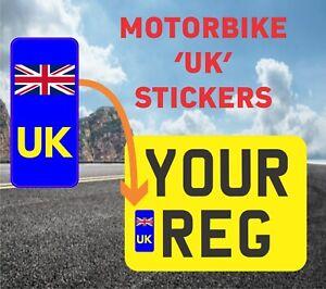 2 x UK Motor Bike - Number Plate Sticker UNION JACK NO EU GB BREXIT - MotorBike