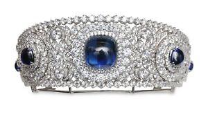 Blue Cabochon & Diamond White Gold Plated Kokoshnik Tiara/Brooch Highend Jewelry