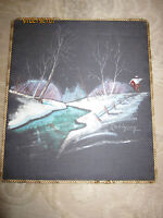 Vintage winter scene painting on fabric with cord trim, signed Robinson
