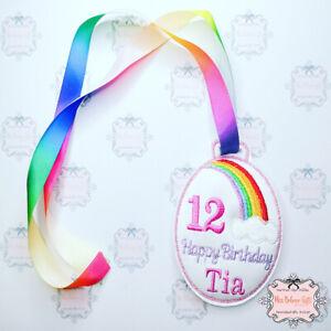 Personalised Rainbow Birthday Medal Badge