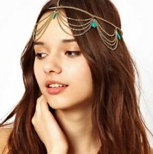 Fashion Women Metal Rhinestone Head Tassel Beads Chain Headband Hair Band AG