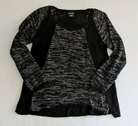 CITY CHIC - Black Grey Knit Jumper Sweater Winter Casual Plus Size - XS 14