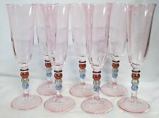 Fluted Champagne Glass Pink with 4 Colored Balls in Stem, Set of 7
