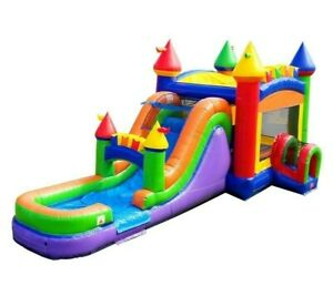 Mega Rainbow Commercial Inflatable Bounce House Water Slide Combo With Blower