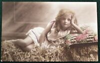 Young Girl - antique hand colored British RPPC