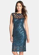 TADASHI SHOJI SEQUIN ILLUSIONS LACE TEAL BLUE SHEATH  DRESS sz 14
