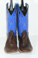 OLD WEST BSY1840 YOUTH 6 BROWN BLUE LEATHER BROAD SQUARE TOE COWBOY BOOTS
