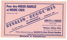 ancien buvard publicitaire vêtement Rivalin - Bourc'his Quimperlé Finistère