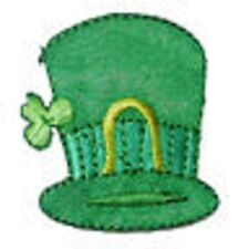 Green Hat with Shamrock Iron On Applique