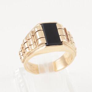 Men's Gents 14Ct 14K Gold Signet Ring Set With Black Onyx