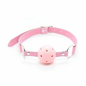 Bondage Restraints Slave Pink Faux Leather Hollow Gagged Mouth Ball Gag Sex Toy