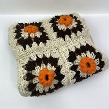 "Vintage Crochet Raised 3D Flowers Granny Square SOFT Blanket Afghan 32""x51"""