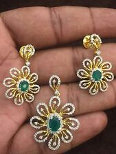Pave 3.42 Cts Natural Diamonds Emerald Pendant Earrings Set In Fine 14Karat Gold