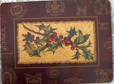 ~ Set Of 4 Christmas Holiday Festive Trays With Cork Bottoms Myriad Uses ~