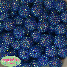 20mm Royal Blue Rhinestone Resin Chunky Bubblegum Beads 20 pc Gumball