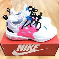Nike Presto React (GS) Shoes Size 6Y White Hyper Pink Blue Women Size 7.5