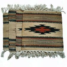 Vintage El Paso Saddle Blanket Co. Jute Cotton Mini Rugs Lot Of 4 Southwestern