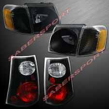 2001-2005 FORD EXPLORER SPORT TRAC BLACK HEADLIGHTS + CORNER + TAIL LIGHTS COMBO