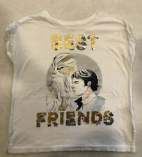 "Girls GAP STAR WARS ""Best Friends"" Chewbacca white t-shirt top Size 6-7"