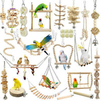 Pet Bird Parrot Parakeet Budgie Cockatiel Wooden Cage Hanging Hammock Swing Toys