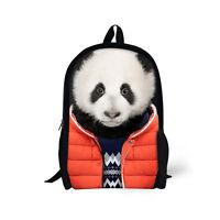 Panda Wolf Travel Backpack Rucksack Shoulder Hiking Sport Bags Women Men Kids