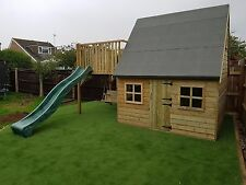 Luxury Two/Double Storey Kids Playhouse with Swing and Slide - Wooden Tanalised