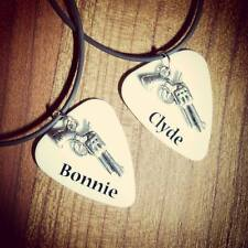 Bonnie and Clyde pistol gun Charm Guitar Pick couple friends matching Necklaces