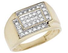 Men's 10K Yellow Gold Square Genuine Diamond Engagement Wedding Ring 0.33ct 11MM