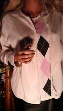EP PRO GOLF WHITE PINK BLACK ARGYLEEDIAMOND PRINT TWIN SWEATER SET WOMEN'S LARGE