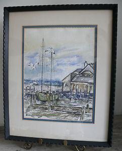 Watercolor Sailboat at Dock Nautical Coastal Watercolor 1969 Artist Crawford