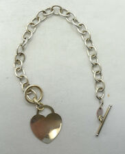 Pretty 14K White Gold Rolo Link Smooth Heart Dangle Toggle Bracelet 7 Inch A7063