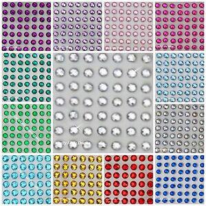 176 x 4mm Rhinestone Diamante Gems Stick On Self Adhesive GEMS in Clear Red Pink