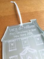 Personalised 'First Christmas In Your New Home' Silver Xmas Tree Decoration Gift