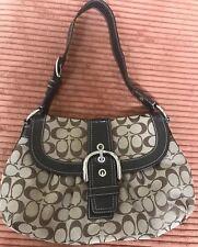 Coach Pleated Buckle Flap Handbag/ D1068-F15203 Brown Signature Fabric