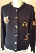 Mondi Vintage Womens Navy Nautical Patch Cotton Blend Gold Button Cardigan S 4