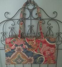 poesis Handbag Shoulder Purse Bag TAPESTRY VINTAGE-LOOK  Burgundy Gold Blue