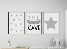 Set of 3 Little Man Cave Stars Kids Room Nursery Wall Art Prints Grey & White