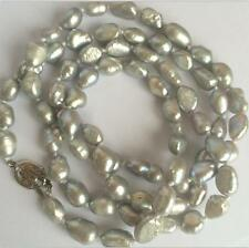 "New long 34 "" 7-8mm baroque gray freshwater pearl necklace Aaa Yl"