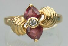 Ladies 14K Solid Gold Heart Ruby Diamond Estate Ring