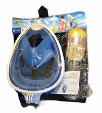 Free Breath Revolutionary Anti Fog Snorkeling Dive Mask 180 Vision L/XL Blue NEW
