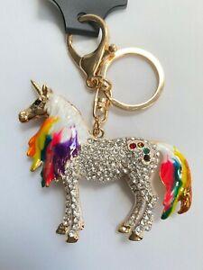 Gorgeous Unicorn Diamante & Colour Keyring Rhinestone bag Charm Bling NEW gold