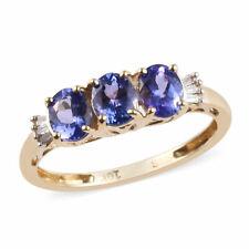 10K Oro Amarillo Tanzanite diamante azul AA Baguette 3 Piedra Anillo Tamaño 5 CT 1.1